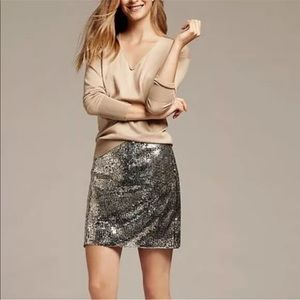 NWT J.Crew Silver Sequin Mini Skirt 4P